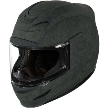 Icon Airmada Chantilly Opal Matt Black Day Of Dead Motorcycle Motorbike Helmet